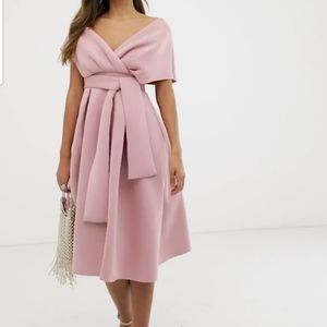 ASOS DESIGN fallen shoulder midi prom dress